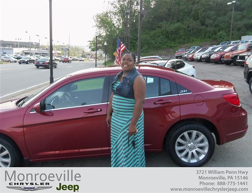 Monroeville Chrysler Jeep would like to say Congratulations to Ashley Pryor on the 2013 Chrysler 200 Series
