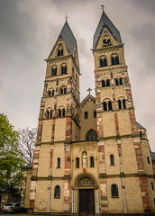 Koblenz Germany Saint Castor Church Kastorkirche (mbell1975) Tags: mist church rain saint river germany deutschland europe day cloudy kirche chapel rainy german valley rhine rhein castor koblenz deutsch kirke kapelle kastorkirche