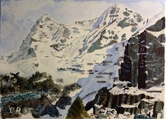 The Eiger and Mnch from Mrren. (dstel) Tags: mountains watercolour eiger snowscape jungfrau mnch mrren