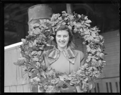 Girl with wreath (Boston Public Library) Tags: women wreaths lesliejones