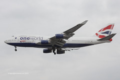 G-CIVM - 1997 build Boeing B747-436, on approach to Runway 27R at Heathrow (egcc) Tags: london logo heathrow ba boeing britishairways jumbo lhr b747 baw oneworld egll b747400 1116 b744 28700 gcivm b747436