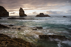 There's A Reason (MANUELup) Tags: sky sea sunset water sunlight clouds cloudy ocean movement rocks orange green wave seascape spain lines longexposure seashore waterscape cliffs quiet cantabria pilagos arna