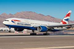 G-YMMR - Boeing 777-236(ER) - British Airways (Bjoern Schmitt) Tags: gymmr british airways boeing 777236er cn 36516771 las vegas nevada usa arrival klas touchdown smoke