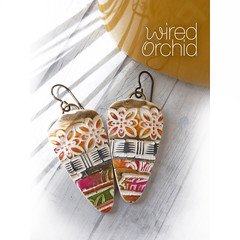 Pottery Tiles (WiredOrchid) Tags: layered dagger earrings polymer clay lightweight dangle multi colored
