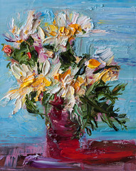 White Daisy Flowers in a Red Glass (http://annafineart.net/) Tags: oilpainting expressionism contemporary modernart gallery original floral flowers artwork still life flower artstudio media bouquet pink oilmedia impressionist art arts painter dailypainter artist oil painting paintings fineart finearts textura impasto white daisies daisy blue red expressionist artforsale professional thick paint paints annafineart annafineartstudio bunch yellow