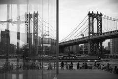 Manhattan Bridge Reflection - Brooklyn, New York (M. Khatib) Tags: manhattanbridge newyork reflection brooklyn usa glass flickrtravelaward