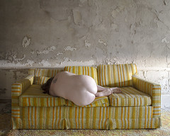 I'm Waiting Around for No One (sadandbeautiful (Sarah)) Tags: me woman female self selfportrait abandoned resort poconos couch hotel pennsylvania