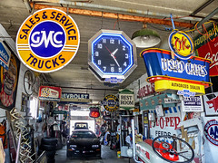 1:25 PM At Beer's Auto Sales (J Wells S) Tags: beersautosales signs chevrolet gmc gasstationsigns gaspump lawrenceburg indiana shell wonderbread restroom neon bfgoodrich cocacola advertising advertisingsigns