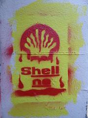 Shell no, graffiti, Bristol (duncan) Tags: bristol graffiti streetart shell stencil
