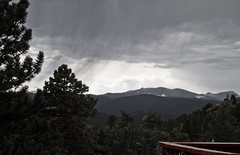 Change in the Weather (brucetopher) Tags: rain mountain mountains rockies highcountry squall cloud clouds rainfall weather dangerous thunder lightning changeintheweather change dark gloomy gloom dismal drench wet rainy summer sunshower shower