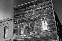 I.O.O.F. (what's_the_frequency) Tags: lightbox 52project2016 letters ioof independentorderofoddfellows bodie california uscalifhwy395 395 hwy395 ghosttown sierras summer architecture outside building structure blackandwhite bw nikon d5100 sigma18200 18200