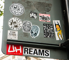 East London Stickers (cocabeenslinky) Tags: streetart graffiti east eastend london city capital england united kingdom uk street art artist artiste graff urban photos photography panasonic lumix dmcg6 cocabeenslinky letters august 2016 all type no face ugly house uh dill eye stickers road sign this sato skull the arrex real collab wv double headed bird reams