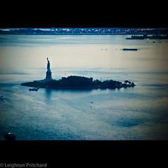 Give Me Liberty (I make no more demands) (widdowquinn) Tags: libertyisland manhattan newyork newyorkcity statueofliberty usa unitedstates wtcone worldtradecenter blue boats water