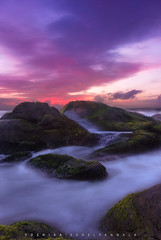 The last light (YOSHIKA |  | 4) Tags: sea seascape water world rocks purple green moss waves seashore red sky clouds reddish spash longexposure slow shutter
