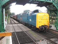 55019 enters North Weald, EOR Epping Ongar Railway Diesel Gala 17.09.16 (Trevor Bruford) Tags: eor epping ongar heritage railway north weald br blue train diesel locomotive gala deltic d9019 9019 55019 royal highland fusilier napier ee english electric dps preservation society