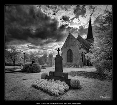 Canon TS-E 4/17mm on Sony A7R IR(720nm), stitch of two shifted images (Dierk Topp) Tags: a7rir bw canontse417mm architecture church churches gravejard infrared sw sony tiltshift wideangle