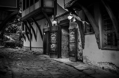 """""""Welcome home"""" (Ekaterina Toseva) Tags: monochrome outdoors blackandwhite old vintage pub houses light alone lonely plovdiv welcome home alcohol town night evening nikon d7000 shine beam streak scary sign menu friendly"""