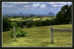 Maleny outlook 1 (agphoto100) Tags: maleny nikon 1v1 grass tree clouds blue bush view hills glasshouse fence timber wire lookout orton hdr color