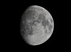 Moon Without Stabilisation (Deepgreen2009) Tags: moon lunar stabilisation off threequarters sky night dark craters phase