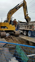 Water main upgrade (D70) Tags: gilmore hastings burnaby bc canada water main upgrade cat 328d lcr excavator truck dump