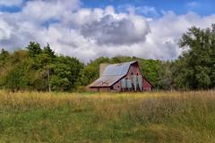Blue sky barn (slammerking) Tags: bluesky barn grass clouds cloudy silo trees tinroof barnwood meadow rural farm ag abandoned agriculture kansas nikon country