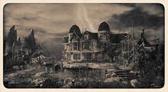 Foggy Swamp (Bleem Belargio) Tags: antique sepia blackandwhite halloween hauntedhouse lightning thunder storm rain sl secondlife foggyswamp