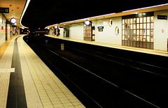 A station, Helsingborg, Sweden July 2016 (Juha Riissanen) Tags: platform station railway tracks curve rails empty desolate contrast light illuminated dark tiles curves sweden helsingborg