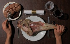 Leg o' Lamb (mark spag) Tags: creepy meat dinner lamb liver instestine disturbing disgusting halloween yum carnivore carnivorous