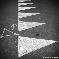 Triangles (Nicolas Pirson (OFF FOR A WHILE)) Tags: road street brussels bw abstract square triangle pattern belgium geometry path samsung bruxelles symmetry nb minimal direction stop nicolas squareformat abstraction roadsigns straight minimalism ixelles pirson minimaliste galaxys2