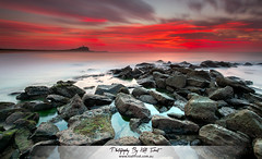 Nobbys (Kiall Frost) Tags: ocean longexposure red sky lighthouse color colour beach water clouds sunrise newcastle print fire photography photo nikon rocks photographer image le nobbys kiallfrost d800e