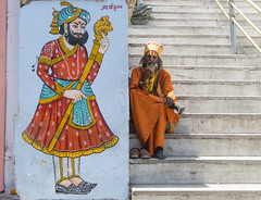 raja and rank (kunjan detroja) Tags: street people orange india temple king steps kind baba raja rajasthan udaipur citypalace indianstreet lifeinindia nikond800 kunjandetroja kunjandetrojaphotography