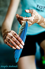 Henna and Feathers (B.Bubble) Tags: blue art stain design spring hands fingers feather henna bodyart mehndi
