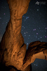 Deep Space Spectacle From Double Arch (Mike Berenson - Colorado Captures) Tags: sky lightpainting nature night dark stars landscape utah leo cancer arches archesnationalpark constellations ursamajor virgo allrightsreserved doublearch beehivecluster leominor comabernices coloradocaptures copyright2013bymikeberenson