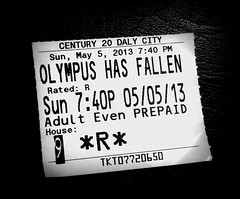 Olympus has fallen () Tags: blackandwhite bw apple movie blackwhite phone action telephone cellphone cell ticket r mobilephone movies gps dalycity ratedr xd movienight movieticket iphone fandango sundaynight actionmovie appleiphone iphone5 takenwithaniphone iphonecapture backcamera olympushasfallen iphone5capture adultevening
