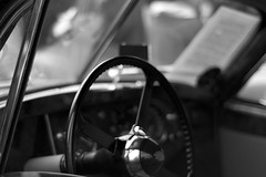 Steering Wheel (Whackyrach) Tags: white black classic window car wheel steering dashboard