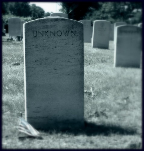 Woodmere Cemetery: Headstone of an Unknown (Black and White)--Detroit MI