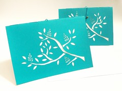 blooming twig cards (Kondor Vali) Tags: tree leaves paper branch cut azure negativespace bloom greetingcard
