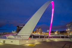 Millennium Bridge (Gary Pattison) Tags: city bridge reflection art water night river newcastle cityscape dusk wideangle baltic tyne millenniumbridge quay gateshead newcastleupontyne quayside balticmill