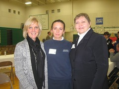 Magnificat student scholarship reciepent her mother and President of Mags