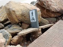 Storm Damage (mikecogh) Tags: glenelg damage storm sign pavement footpath rocks esplanade broken