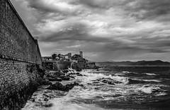 Cap d'Antibes (Christian Ferrari) Tags: light sea sky bw cloud white black france canon wave