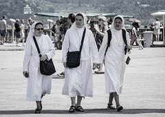 Nuns on the run (Rhoboo) Tags: florence frienze nuns bw blackkandwhite outdoors piazzale michelangelo