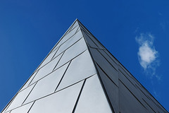 Modernism # 4 (with Cloud) (PeteZab) Tags: bluesky modern architecture building section triangular pyramid shape pattern line peterzabulis zabzone petezab cloud block colwynbay wales uk point pov angle