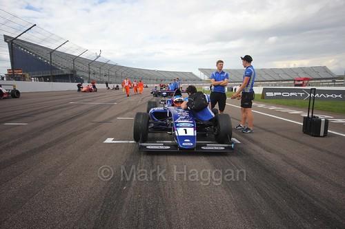Devlin DeFrancesco on the grid in British F4 at Rockingham, August 2016