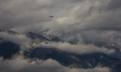 checking the clouds (Marcus Rahm) Tags: clouds cloudy morgennebel morningmist mountain mountains berge sterreich austria innsbruck wolken wolkenband bergisel bergpanorama flugzeug plane sky