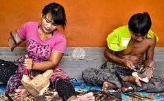 wood workshop (mohdforever007) Tags: wood woman man handtools shape bali indonesia nikon tamron16300 culture traditional hummer