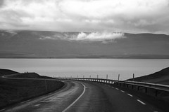 Heading to Akureyri (jaimeaa87) Tags: iceland islandia ring road blackandwhite pavement carretera blancoynegro