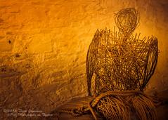 Bound Wicker Man (Peter Greenway) Tags: coteshele grindstone cotehelehouse nationaltrust wickerman millstone ntproperty millwheel boundwickerman cotehele wicker bound nt saltash cornwall england