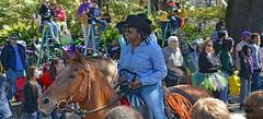 Serious Cowgirl (BKHagar *Kim*) Tags: bkhagar mardigras neworleans nola la parade party celebration carnival horse rider western cowgirl street napoleon outdoor people crowd beads throws saddle leather