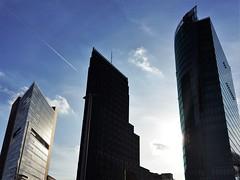 Triple Towers in Potsdamer Platz - Berlin (Gilli8888) Tags: germany berlin tourists buildings architecture potsdamerplatz towers bahntower daimlerchryslertower kollhofftower light shadow
